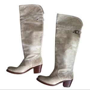 Frye Jane Tall Cuff Taupe Leather Boots 7